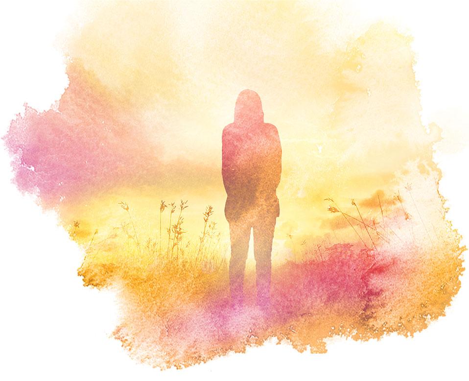 Illustrativ bild av kvinna på äng, akvarellkänsla